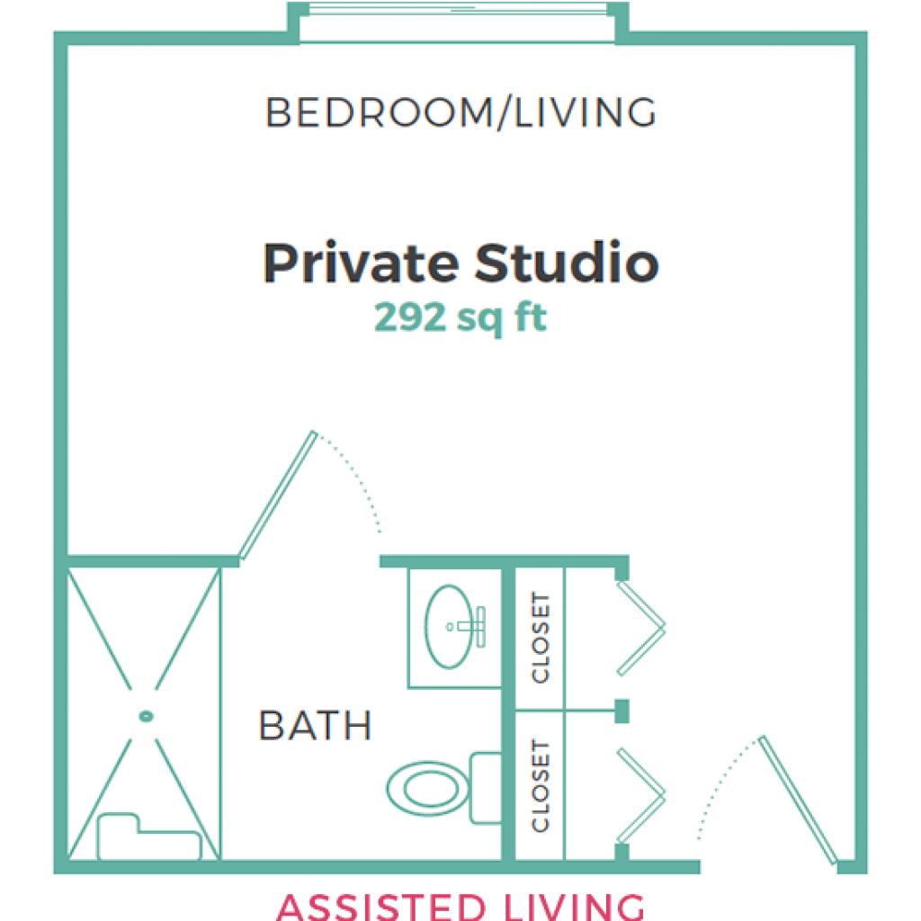 Cadence Garner Assisted Living Private Studio 292 sq ft