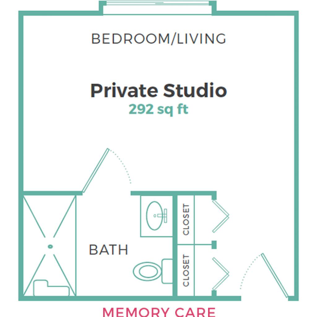 Cadence Garner Memory Care Private Studio 292 sq ft