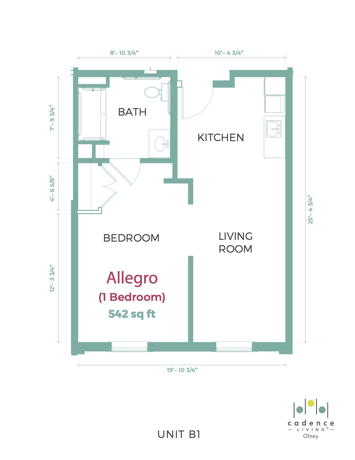 Olney Allegro one bedroom floor plan