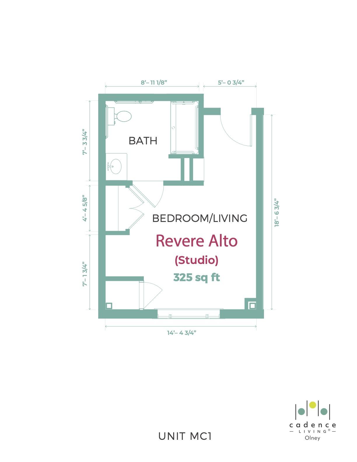 Revere Alto Studio Floor Plan