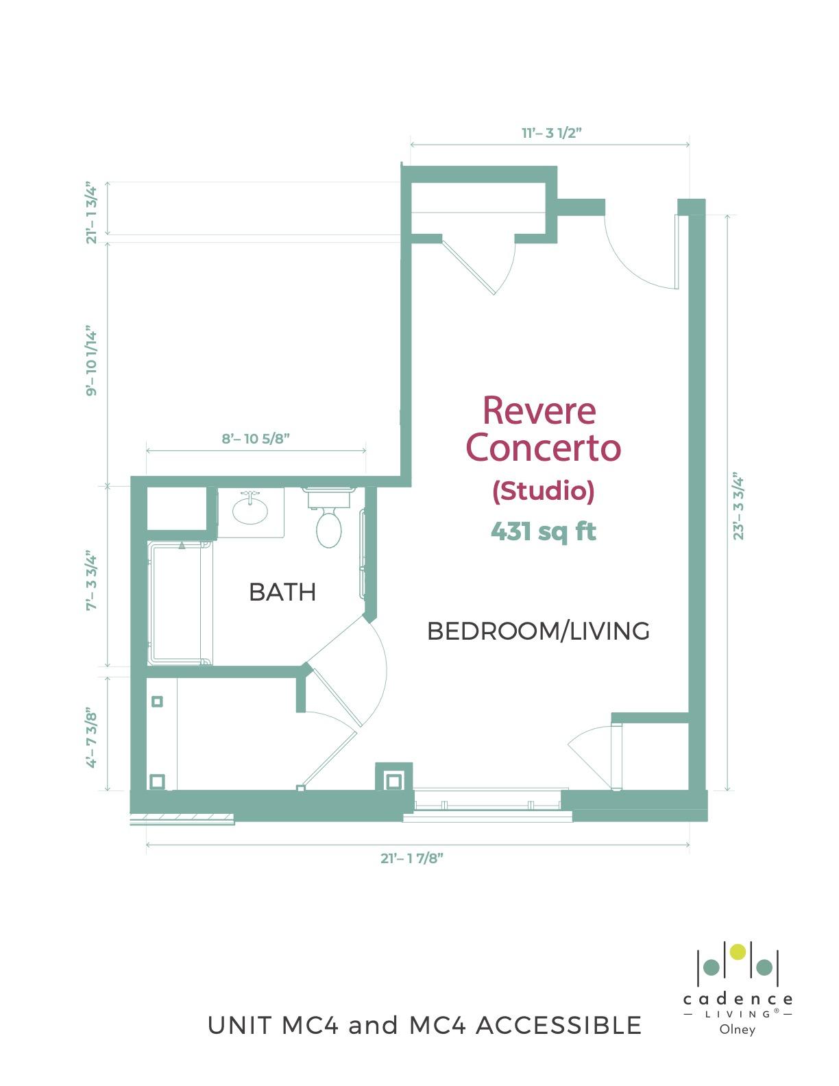 Revere Converto studio Floor Plan
