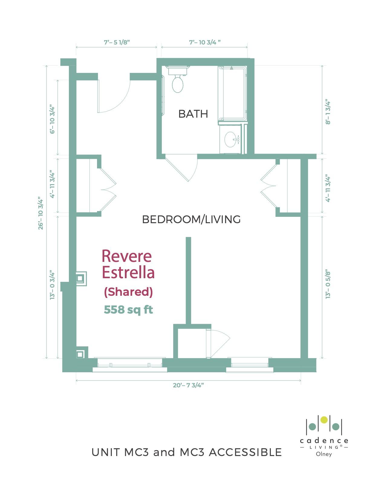 Revere Estrella Shared Room Floor Plan
