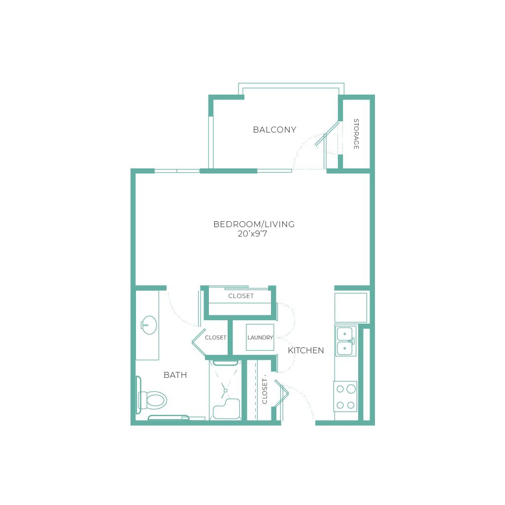 Cadance Chandler Arietta Studio 462 sq ft