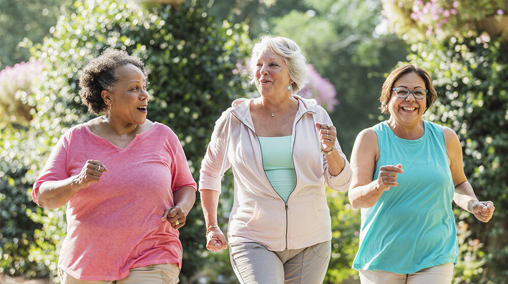 Group of friends go out for jog together in beautiful, flowery environment